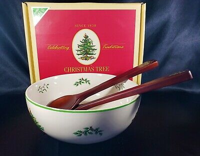 Spode England Green Christmas Tree 3 pc Salad Set Bowl & Wooden Spoons MIB