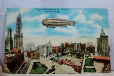 New York NY NYC City Hall Park Zeppelin Postcard Old Vintage Card View Standard