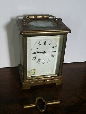 Antique France Brass Carriage Clock W/ Key for repair or parts