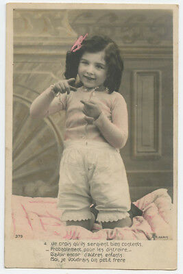 c 1907 Child Children ADORABLE GIRL photo postcard