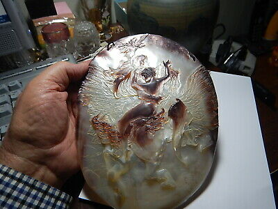 ANTIQUE  CARVED ABALONE MOTHER OF PEARL SHELL Knight on horse with woman