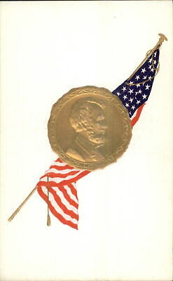 President Abe Abraham Lincoln Gold Seal Embossed American Flag Postcard