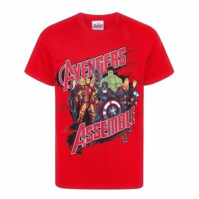 BOYS RED MARVEL AVENGERS ASSEMBLE T-SHIRT IN AGES 4 TO 7 BNWT