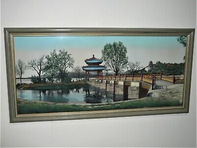 Vintage Large Long Japanese Woven Silk Picture With Painted High Lights