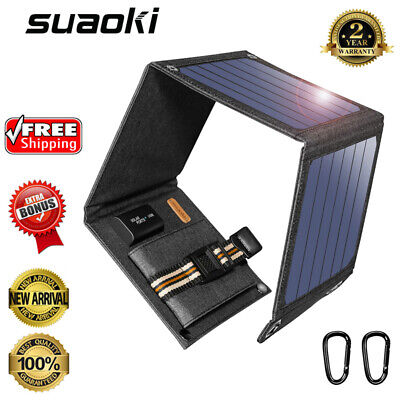 Suaoki 14W Solar Panel Portable Smartphone Tablet Battery Charger Power Bank USB