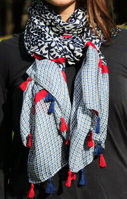 Twin Print Navy Red Womens Fashion Scarf with Tassels