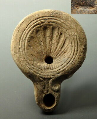 Roman Terracotta Oil Lamp Depicting Scallop Shell & Maker's Mark (M797)