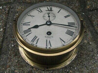 Antique Brass Ships Bulkhead Clock / Smith Astral