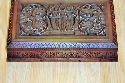 Heavily Carved Wooden Box God Inlay Carving Outer Lid Floral &  Figures Carve