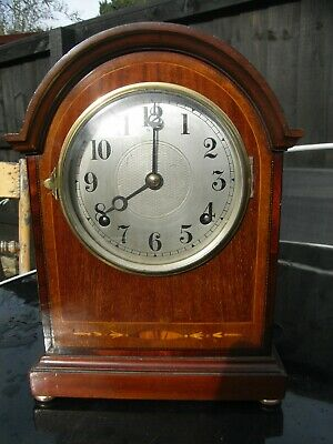 Edwardian Mahogany & Inlaid Mantle Clock Striking on a Gong