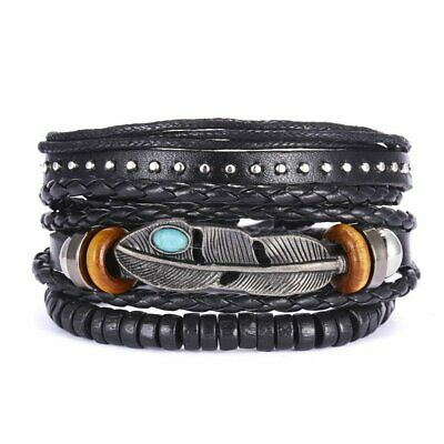 3pcs Fashion Mens Punk Leather Leaf Wrap Braided Wristband Cuff Bangle Bracelet