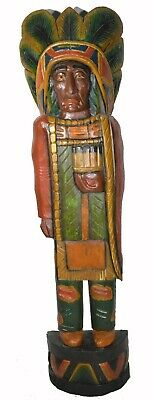 Wooden Cigar Store Indian Chief Warrior Spear Western 3' Statue Native American