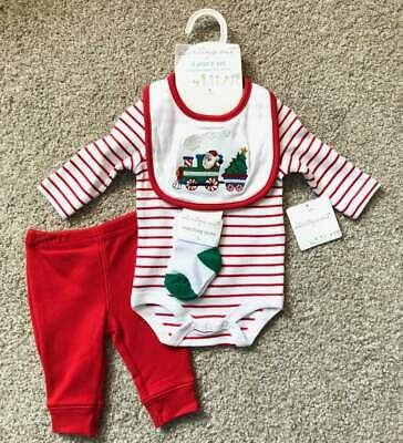 NWT Starting Out Newborn Infant Baby Boy 4-Piece Christmas Outfit Set Santa