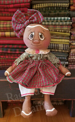 Handmade Primitive Folk Art Gingerbread Doll - Christmas Candy Cane Print Dress