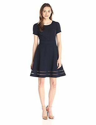LARK & RO WOMENS MODERN STRETCH FIT AND FLARE DRESS ASST plus SIZES COLOR NIGHT