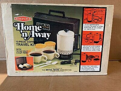 Empire Home 'n Away Coffee Travel Kit 12piece 12V&120V Cord Sets New in Box USA