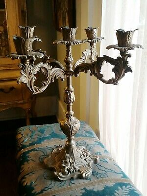 Antique Art Nouveau Cast Metal In Bronzy Gold Color Five  Arm Candelabra