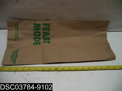 """QTY=1 box of 300: Wing Stop 18"""" x 8"""" x 5"""" Brown Paper Bags Labeled Feast Mode"""