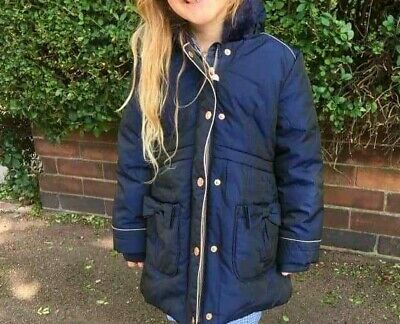 Ted Baker Girls Navy Padded Hooded Parka Jacket Coat Age 7 from 5 to 7