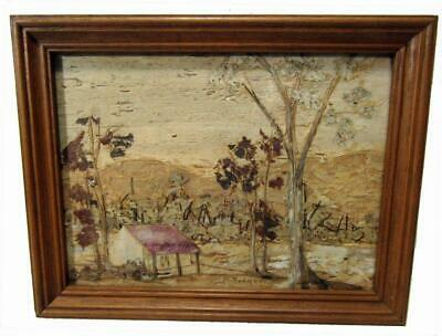 Framed Bark Picture Country Scene Homestead Miniature 8.4 x 23.4 cm