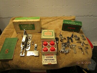 Vintage Lot of  Singer Sewing Machine Attachments Buttonhole Stitch Patterns