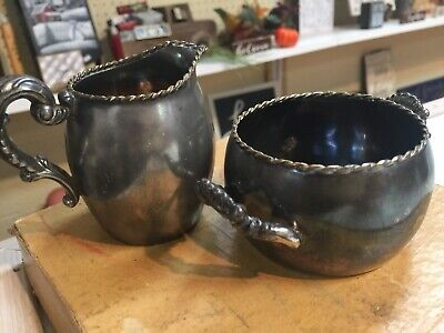 Meriden Silverplate Co. Antique Embellished Bowl And Pitcher W/ Paul Revere Bowl