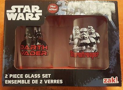STAR WARS DARTH VADER & STORM TROOPER GLASS SET 14oz DUAL SIDED DESIGN NEW  ZAK