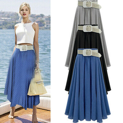 Womens Fashion Summer Long Maxi Skirt Mermaid Solid Color Skirts With Belt