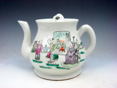 Antique Famille-Rose Glazed Porcelain Ancient Figurines Painted Teapot #08111820