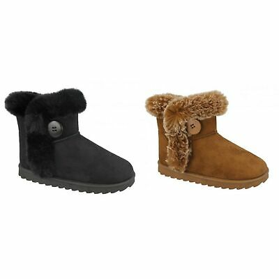 Spot On Girls Fur Trim//Lined Ankle Boots