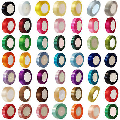 23 METRES DOUBLE SIDED SATIN RIBBON 6mm, 10mm, 15mm, 25mm, 38mm White Colours