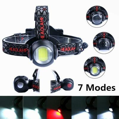 50000LM T6+COB 7 Modes Zoomable Headlamp Rechargeable Headlight Hunting Torch AU
