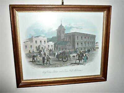 ANTIQUE 1800s ERA HAND COLOURED ENGRAVING BY S.T. GILL CITY POLICE STATION