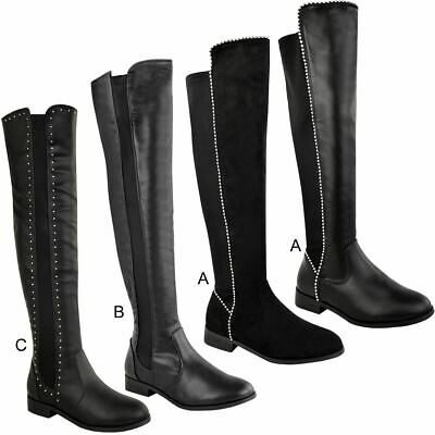Womens Ladies Flat Over The Knee Boots Thigh High Winter Casual Stretch Shoes UK