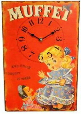 Wall Clock Children's Room Muffet Wood Watch Vintage Furniture Interior Gift
