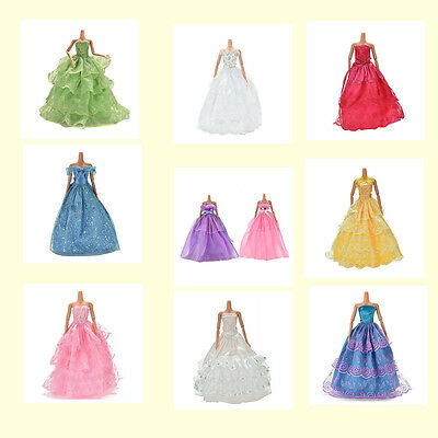 Fashion Party Dresses Clothes Shoes Gown For  Dolls Girls Random Pick MD F_AU