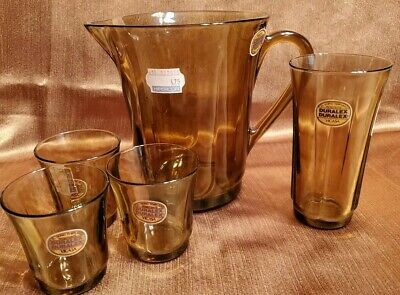 Vintage Duralex Amber Glass Small Pitcher 4 Small Glasses Vicasa Spain Juice Set