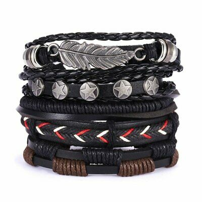 5pcs Fashion Mens Punk Leather Leaf Wrap Braided Wristband Cuff Bangle Bracelet
