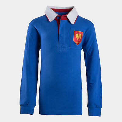 VX-3 France 2019/20 Kids Vintage Rugby Polo Shirt Top Long Sleeve Blue