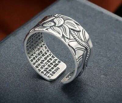 100% Real 999 Pure Silver Jewelry Lotus Flower Open Ring For Men Male Fashion