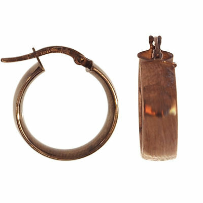 Unique Italian Shiny Round Hoop Earrings Real 14K Brown Chocolate Gold ITALY