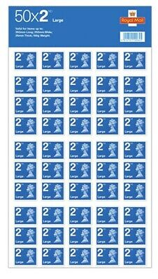 Brand New 2nd Class Large Letter Stamps Self Adhesive 50x2 stamps. (100 Stamps)