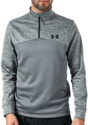Under Armour 1/4 Zip Mens Long Sleeve Top Grey Gym Running Training Jersey Small