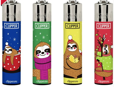 4 x Clipper Lighters SLOTH CHRISTMAS BEAR Gas Lighter RARE Refillable SET ++ NEW