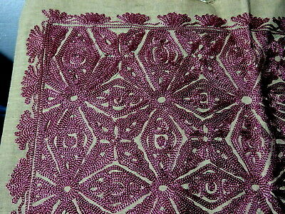 Beautiful Vintage Magenta Moroccan Silk Embroidery for Cushion Cover