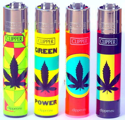 4 x Clipper Lighters LEAVES POWER WEED Gas Lighter RARE Refillable SET ++NEW