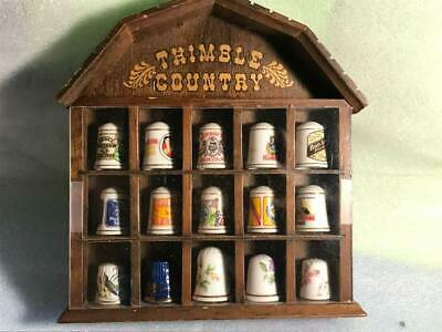 Country Thimble Wall Mount 15 Thimble Holder Wood with 15 Porcelain Thimbles