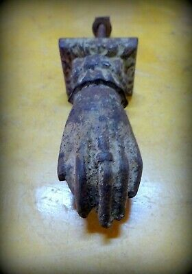 An Antique circa 1800 Cast Iron Door Knocker in the form of A Hand I