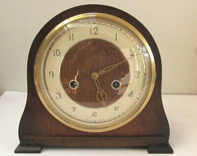 Vintage Smiths Enfield Oak Chiming Mantel Clock Pendulum & Smiths Key Circa 50's