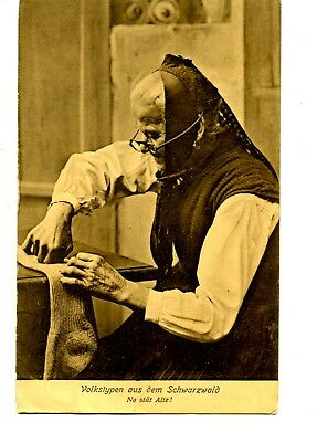 Old German Woman Darning Sock-Typical Black Forest Clothes-Vintage 1910 Postcard